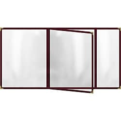 Four Pocket Booklet with Maroon Sewn Edge Menu Covers (Pack of 12)