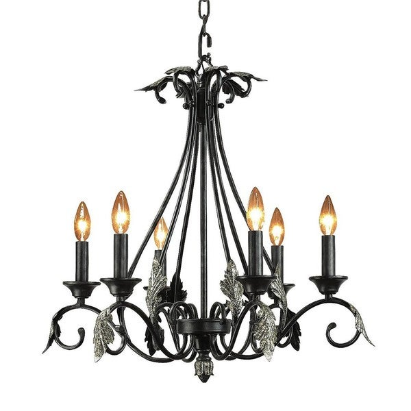 Woodbridge Lighting Easton 6-Light Candelabra-Style Charcoal Chandelier