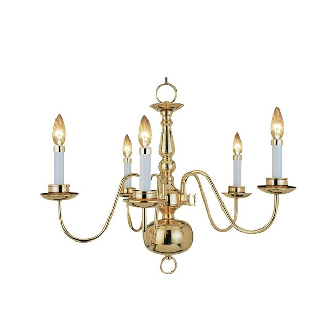 Woodbridge Lighting Williamsburg 5-light Polished Bronze Chandelier