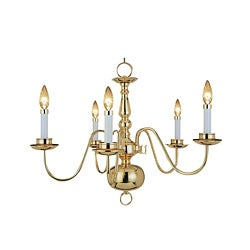 Woodbridge Lighting Williamsburg 5-light Polished Bronze Chandelier