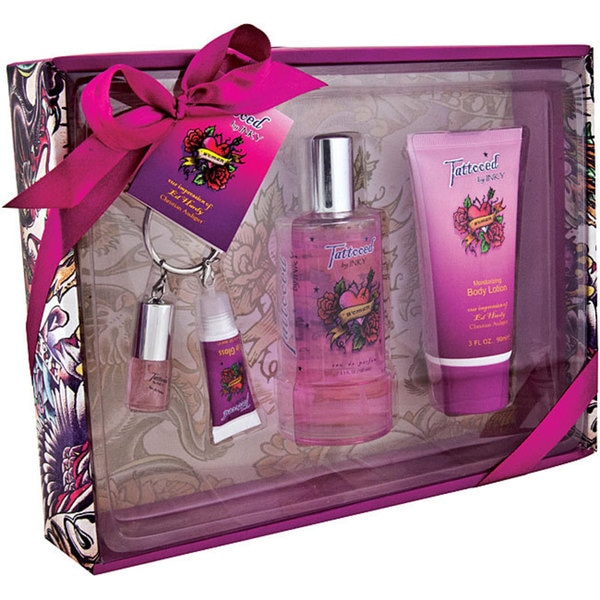 Ed Hardy Deluxe Collection Fragrance Gift Set For Women 4 Pc: Preferred Fragrance 'Tattooed By Inky' Women's Eau De Parfum Deluxe Gift Set