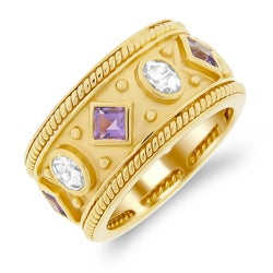 Meredith Leigh Yellow-plated Silver Amethyst and Aquamarine Ring