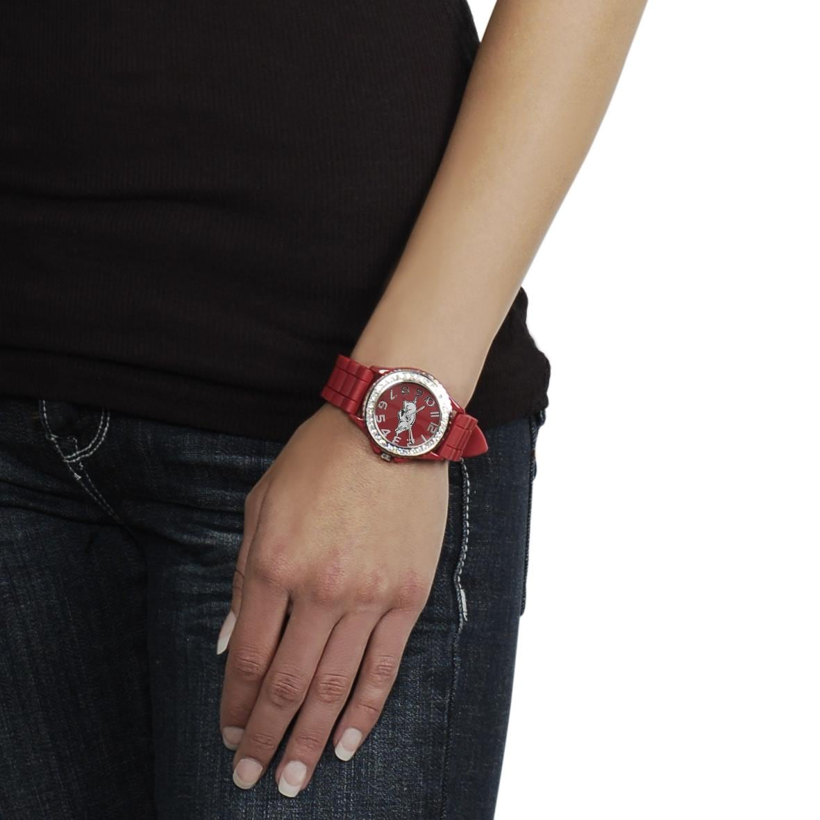 Geneva Women's Platinum Rhinestone-accented Arkansas Razorbacks Watch