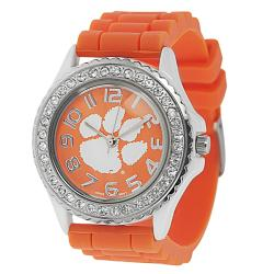 Geneva Women's Platinum Rhinestone-accented Clemson Tigers Watch