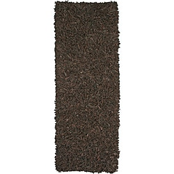 Hand-tied Pelle Dark Brown Leather Shag Rug (2'6 x 12')