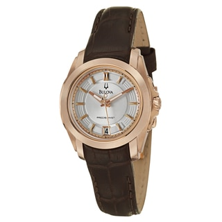 Bulova Precisionist Women's 'Longwood' Rose Goldtone Leather Watch