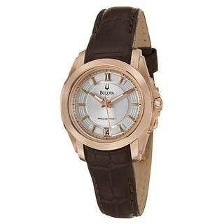 Bulova Precisionist Women's 'Longwood' Rose-goldtone Leather Watch