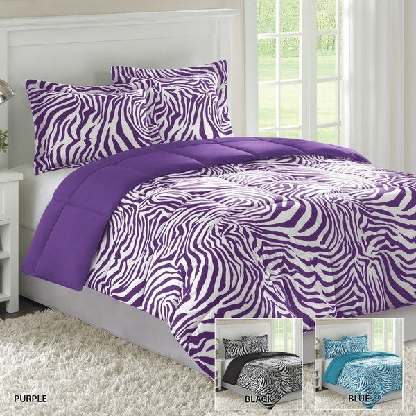 Home Essence Reveresible Zebra Twin-size 2-piece Down Alternative Comforter and Sham Set