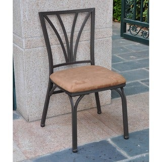 International Caravan Santa Fe Iron Dining Chairs with Micro Suede Upholstered Seat (Set of 2)