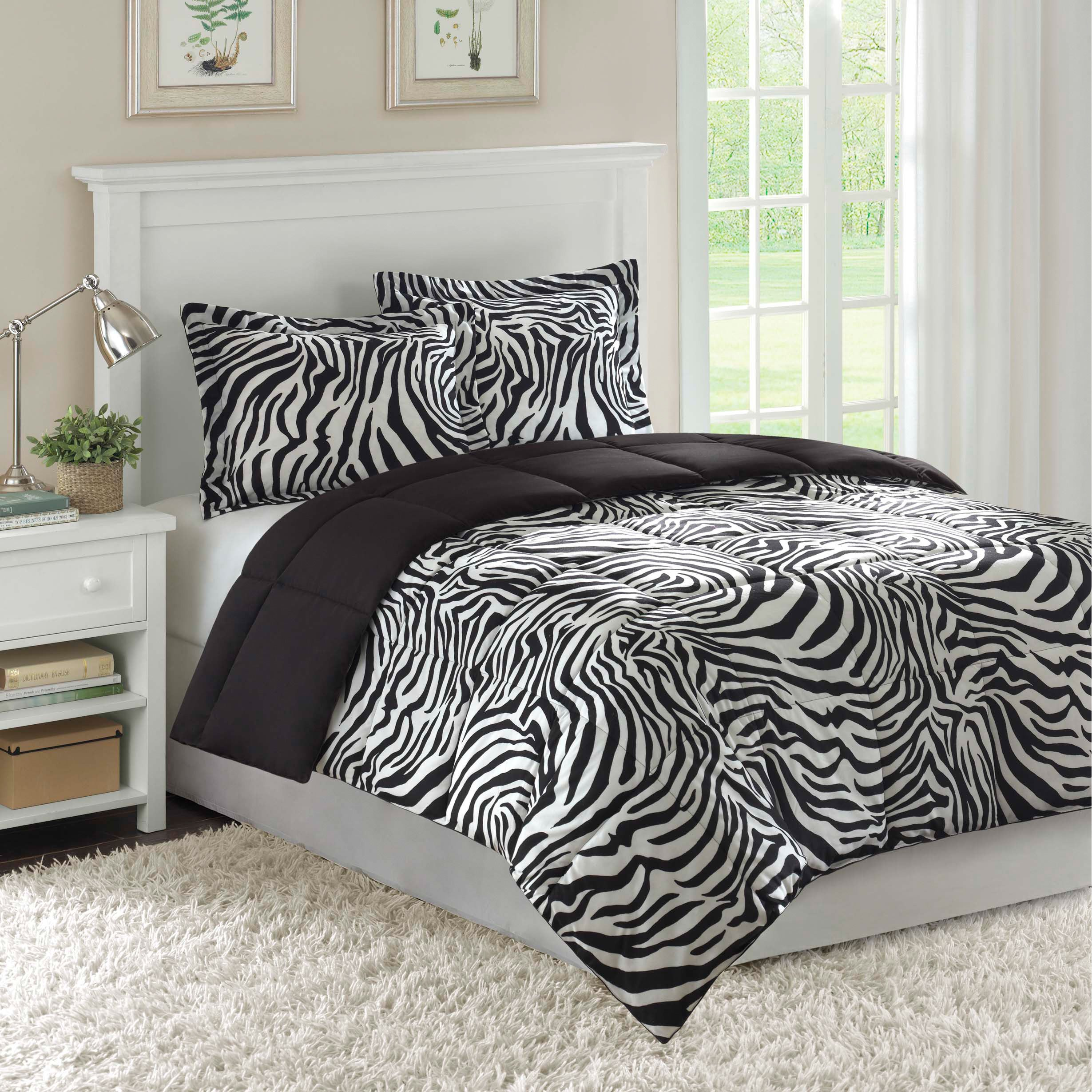 Home Essence Reversible Zebra Full/ Queen-size 3-piece Down Alternative Comforter and Sham Set at Sears.com