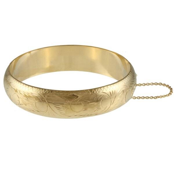 Sterling Essentials 14K Gold over Silver Engraved Bracelet (15mm)