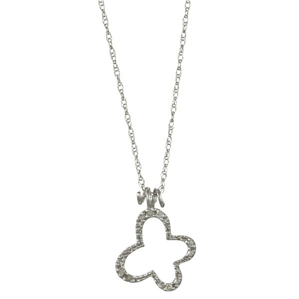10k White Gold Diamond Accent Butterfly Necklace
