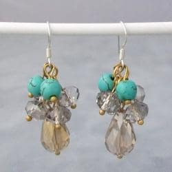 Silver Reconstructed Turquoise and Crystal Drop Earrings (Thailand)