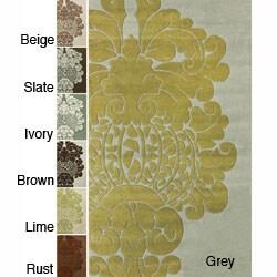 "nuLOOM Handmade Alexa Modern Damask Wool Rug (7'6"" x 9'6"")"