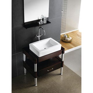 White Vitreous China 18-inch Vessel Bathroom Sink