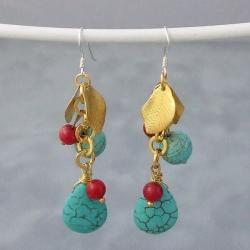 Gold Leaf and Silver Turquoise and Red Coral Drop Earrings (Thailand)