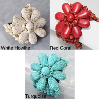 Cotton Rope Blue Turquoise Jingle Bell Flower Bracelet (Thailand)
