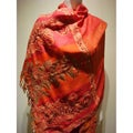 Selection Privee 'Alice' Red Paisley Wool Beaded Shawl