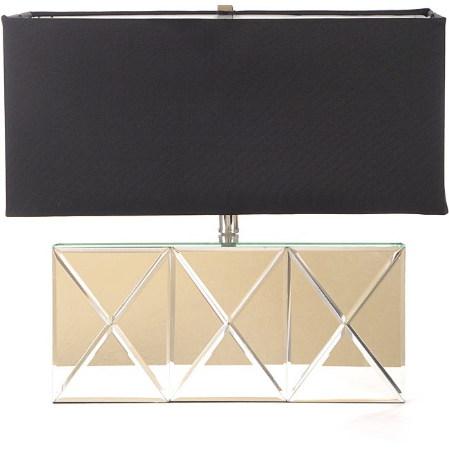 Geometric Reflections Contemporary Silver Mirror Table Lamp