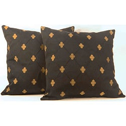 Rashida Black/Gold Medallion Throw Pillows (Set of 2)