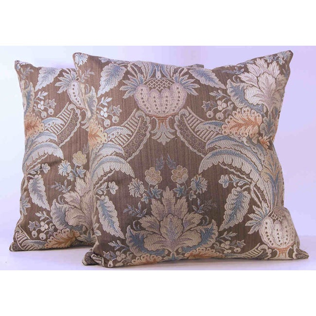Rutherford Mocha Floral Throw Pillows (Set of 2)