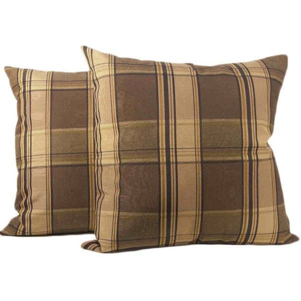 Glenboro Chocolate Plaid Throw Pillows (Set of 2)