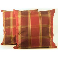 Duncaster Mink Check Throw Pillows (Set of 2)