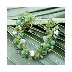 Silverplated 'Lime Sensation' Pearl Bracelet (4.5-5 mm) (Thailand)