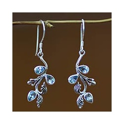 Sterling Silver 'Bali Belle' Blue Topaz Floral Earrings (Indonesia)