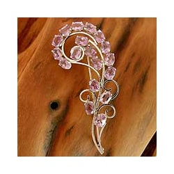 Sterling Silver 'Purple Paisley' Amethyst Brooch (India)