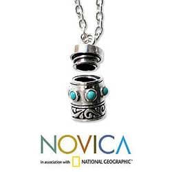 Sterling Silver Men's 'Secret' Turquoise Locket Necklace (Indonesia)