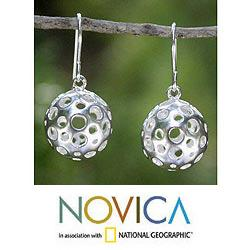 Sterling Silver 'Moonscape' Dangle Earrings (Thailand)