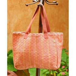 Cotton 'Salmon Honeycomb' Medium Tote Handbag (Guatemala)