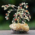 Handcrafted Gemstone 'Autumn Splendor' Tree Sculpture (Brazil)
