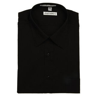 Armando Men's Black Convertible Cuff Dress Shirt