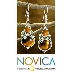 Sterling Silver 'Golden Glow' Tiger's Eye Earrings (India)