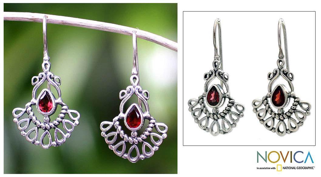 Handcrafted Sterling Silver 'Frozen Flame' Garnet Earrings (Indonesia)