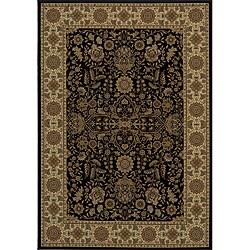 Power-loomed Kerman Black Rug (5'3 x 7'7)