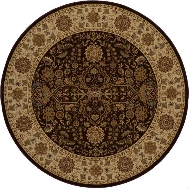 """Westminster Kerman Brown Power-Loomed Rug (7'10"""" x 7'10"""" Round)"""