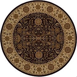 Power-loomed Kerman Brown Rug (7'10 Round)