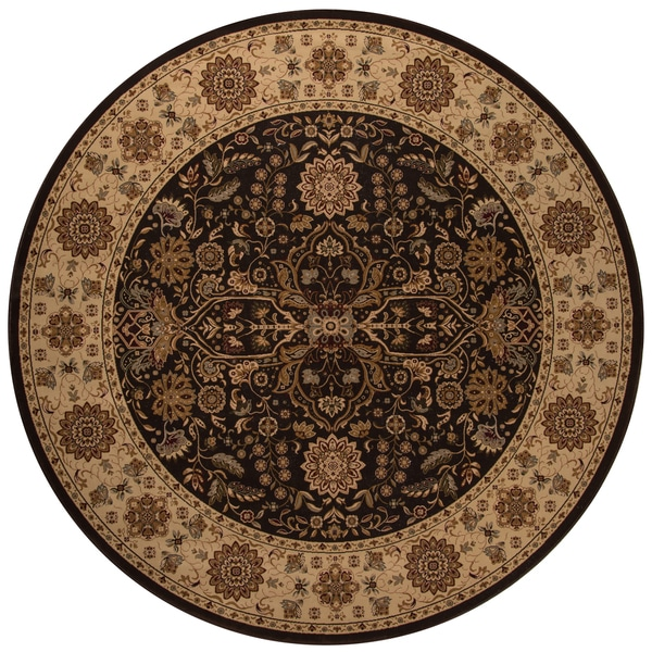 "Westminster Kerman Brown Power-Loomed Rug (7'10"" x 7'10"" Round)"