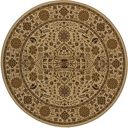 Power-loomed Kerman Ivory Rug (7'10 Round)