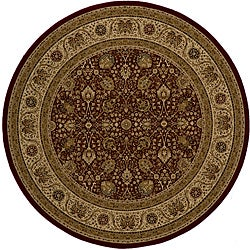 Power-loomed Kashan Red Round Rug (7'10 x 7'10)