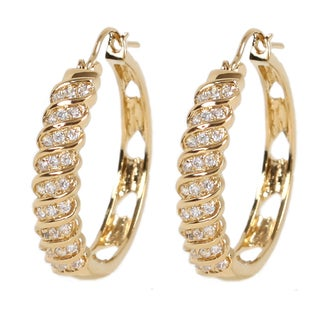 NEXTE Jewelry Goldtone Cubic Zirconia Swirl Hoop Earrings