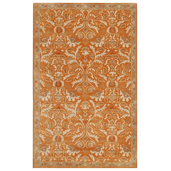 Hand-tufted Sorcica Orange Wool Rug (5' x 8')