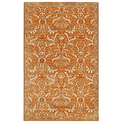 Hand-tufted Sorcica Orange Wool Rug (5' x 8')