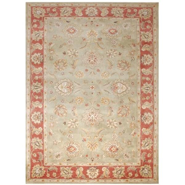 Hand-tufted Santhea Green Wool Rug (8' x 10')