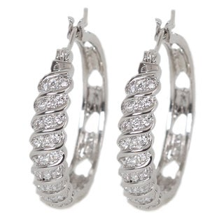 NEXTE Jewelry Silvertone Cubic Zirconia Swirl Hoop Earrings