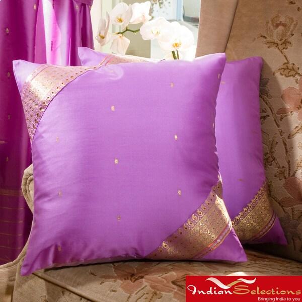 Set of Two Sari Fabric Decorative Lavender Pillow Covers (India)