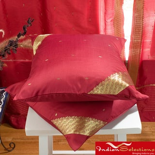 Set of Two Sari Fabric Decorative Maroon Pillow Covers (India)